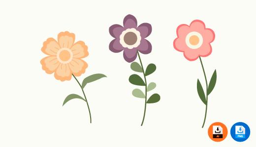 꽃 일러스트 파일, 도안