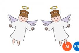 천사 일러스트 PNG 이미지 디자인