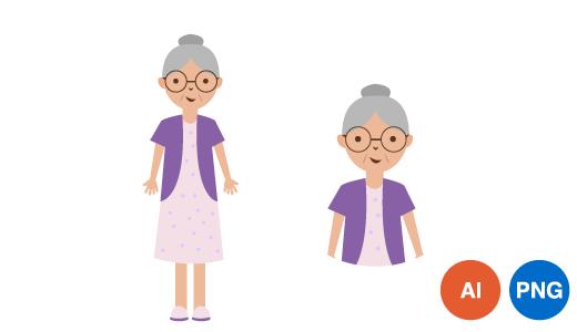 할머니 일러스트 PNG