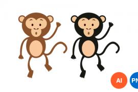 원숭이 이미지 디자인 일러스트 PNG