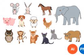 동물 일러스트 디자인 PNG