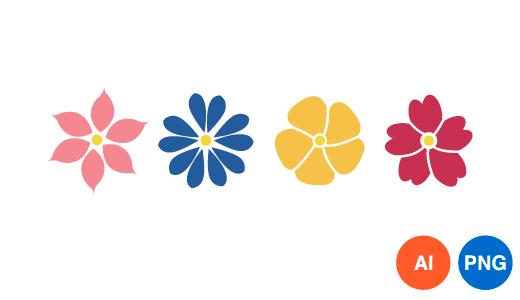 꽃 일러스트 디자인 이미지 PNG