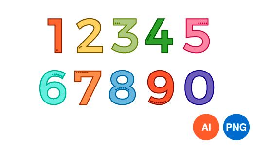 숫자 디자인 일러스트 PNG