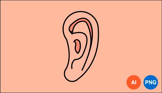 귀 일러스트 이미지 디자인